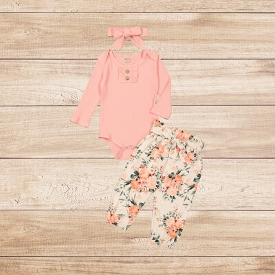 Girls 3PC peach vest with floral trouser and headband