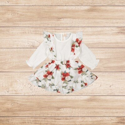 Girls White Blouse with Red Floral Skirt with Straps
