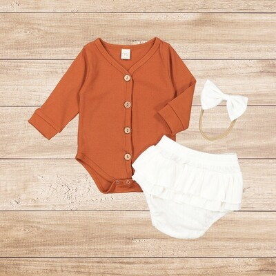 Girls 3PC brown vest with white wooly romper and headband