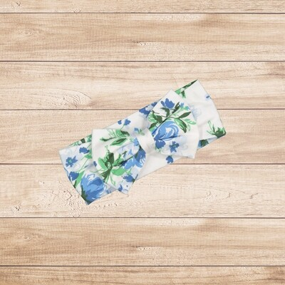 Headband  Bow White and Blue Floral