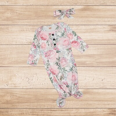 Knotted Onesie with Headband Pink Flower Print