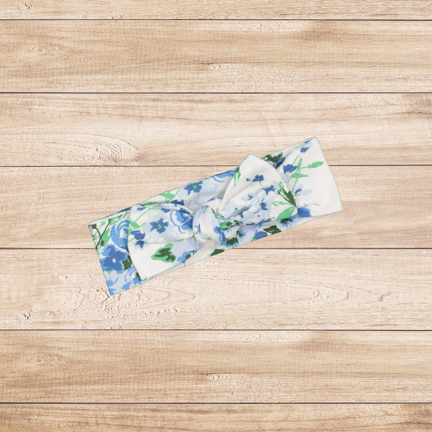 Headband Tie Up White and Blue Floral