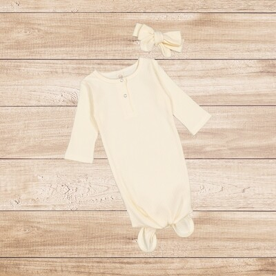 Knotted Onesie with Headband Cream