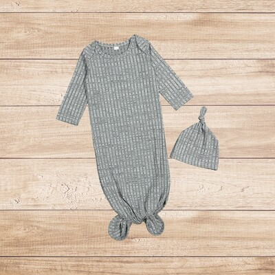 Knotted Onesie with Beanie Grey