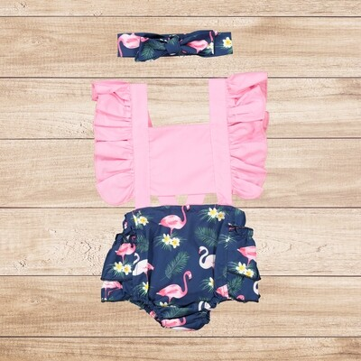 Romper Pink and Navy Flamingo