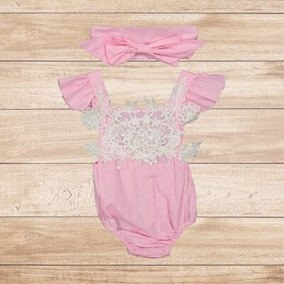 Romper with Lace Bodice