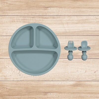 Plate and Utensil Set Blue