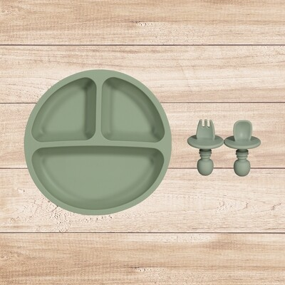 Plate and Utensil Set Green