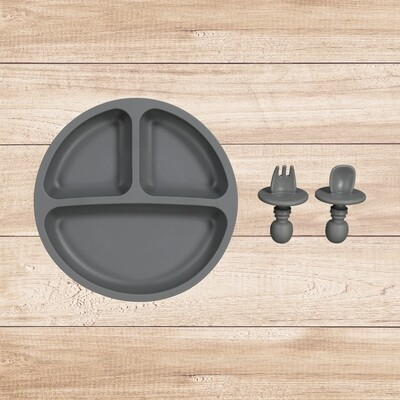 Plate and Utensil Set Charcoal