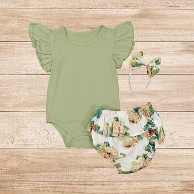 Romper Green Vest Plain with Floral and Headband