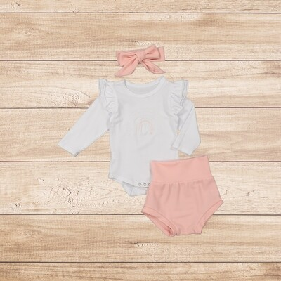 Romper White with Rainbow Embroidery with Pink Romper and Headband
