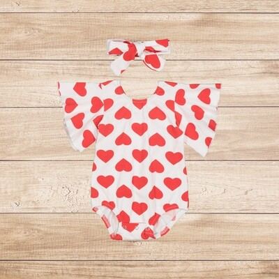 Romper White with Red Hearts and Headband