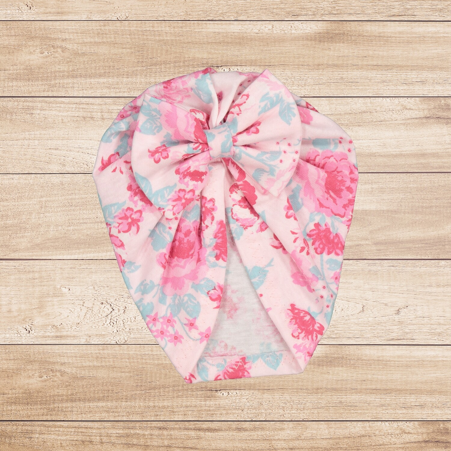 Turban with Bow Floral Pink