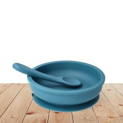 Bowl & silicone spoon set Blue