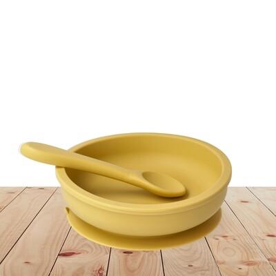 Bowl & silicone spoon set Yellow