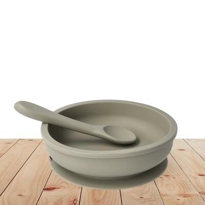 Bowl & Silicone Spoon Set  Army Green