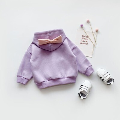 Cotton Hoodie with pink bow