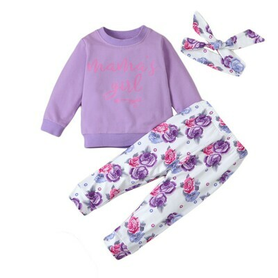 Girls 3PC purple hoodie with floral trouser and headband