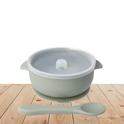 Green Silicone travel bowl with spoon