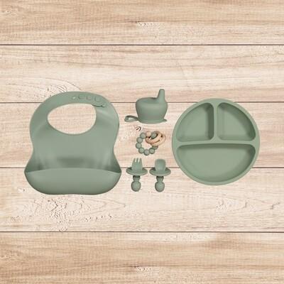 Green 5 piece feeding set