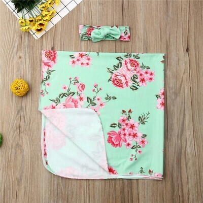 Swaddle Set with Headband Green with roses