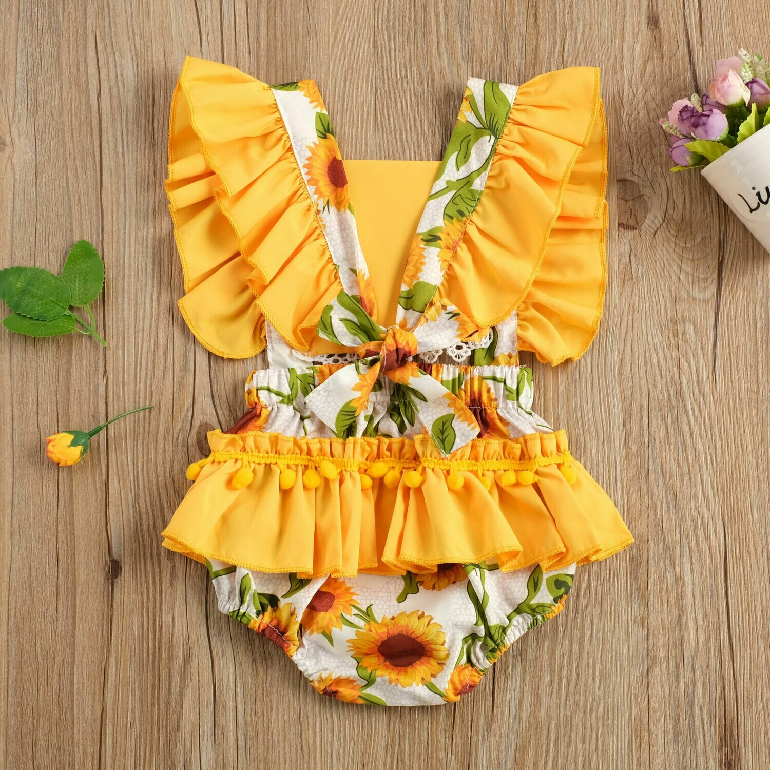 Yellow Romper with Sunflowers and Headband