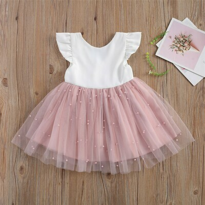 Girls Pink pearl Dress