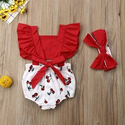 Cherry Romper with Headbands