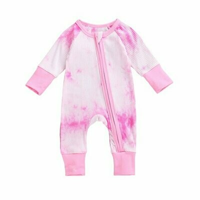 Pink tie die Onesie with zip