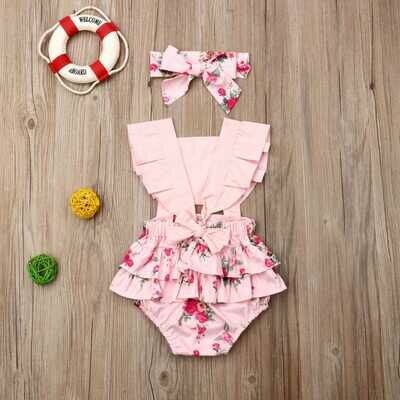Pink Romper with Pink flowers
