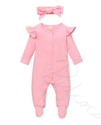 Pink onesie with matching headband