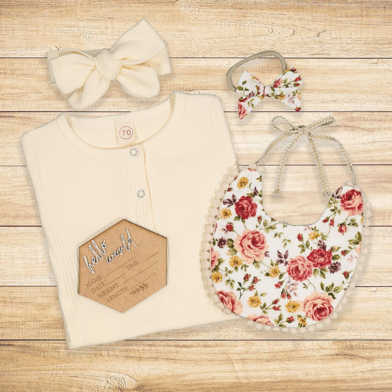 Newborn Gift set Roses & Cream