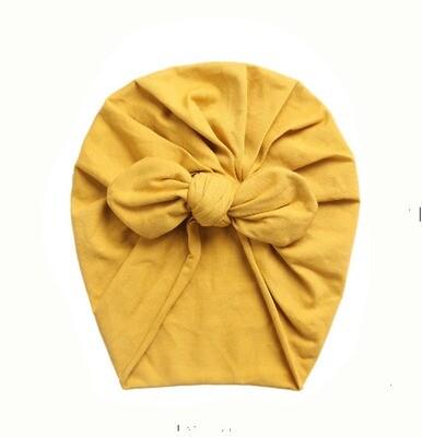 Turban with bow Mustard