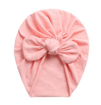 Turban with bow blush pink