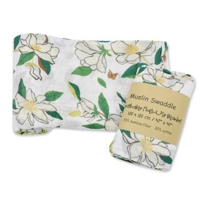 Muslin Blanket Frangipani Floral 120x120cm
