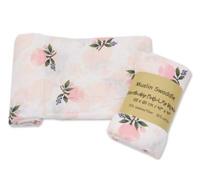 Muslin Blanket Peach Floral 120x120cm