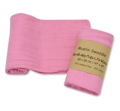 Muslin Blanket Pink 120x120cm