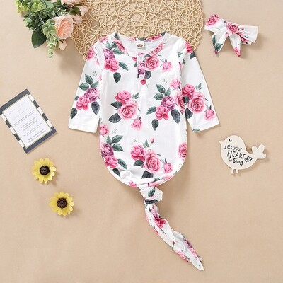 Knotted Onesie with Headband small roses Print