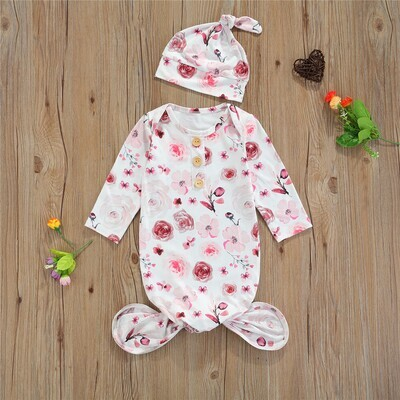 Knotted Onesie with Headband pink roses, daisy's, orchids