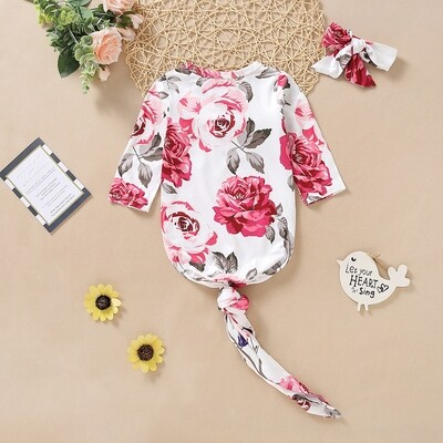 Knotted Onesie with Headband Large roses Print