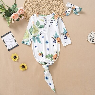 Knotted Onesie with Headband green Print