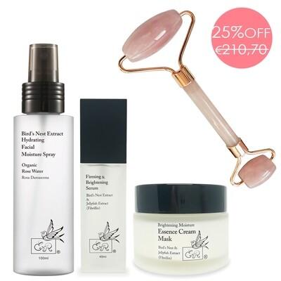 Gesichtspflege-Set und Gifts: Spray100ml + Serum 40ml + Creme 50g