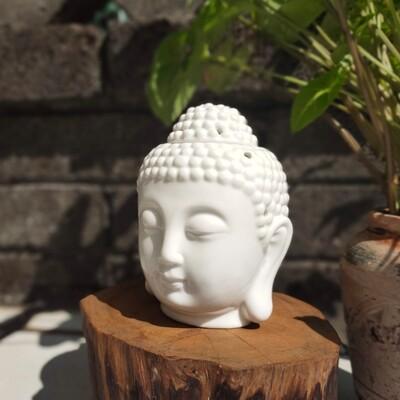 Buddha-Kopf Duftlampe für Aromatherapie - weiß, mit Ätherisches Öl 3ml