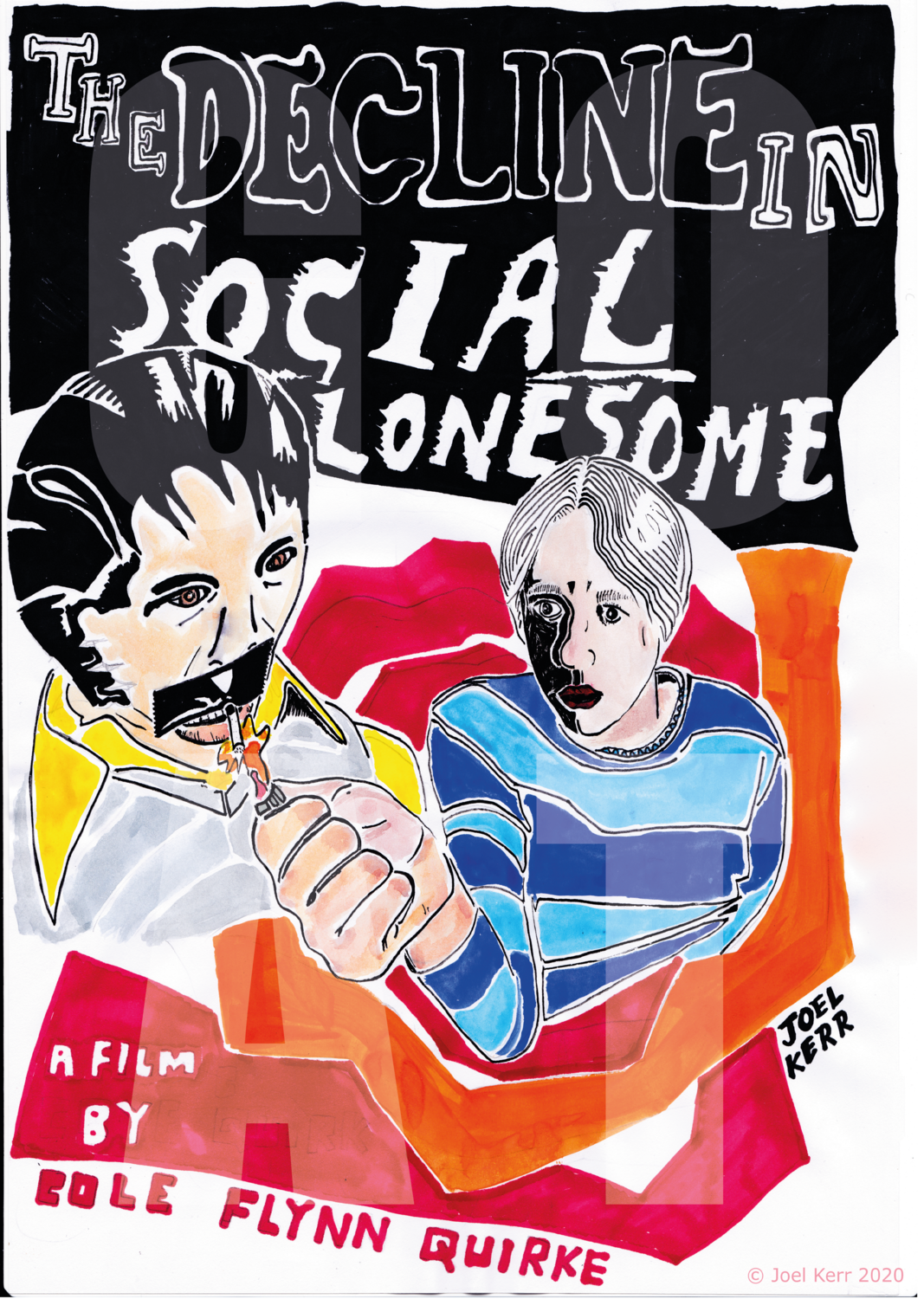 LIMITED EDITION FILM POSTER by Joel Kerr for <<A DECLINE IN SOCIAL LONESOME>> short film by Cole Flynn Quirke