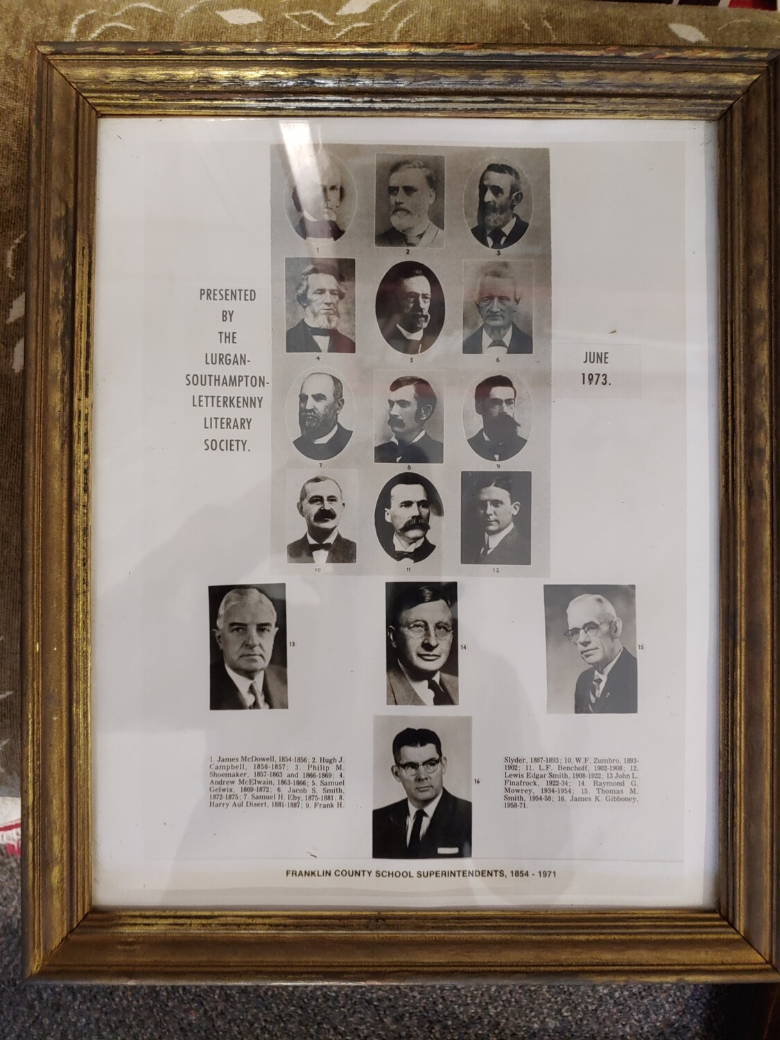 Franklin County Superintendents Framed Photo