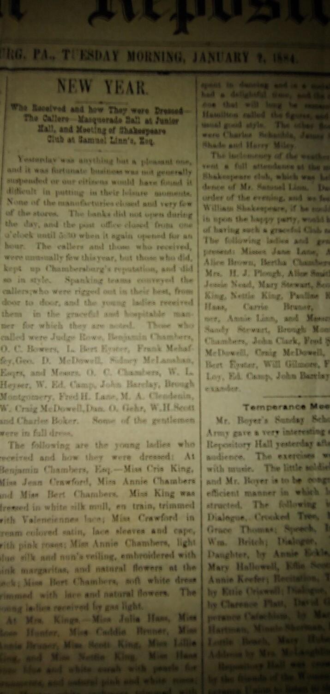 Franklin Repository 1884