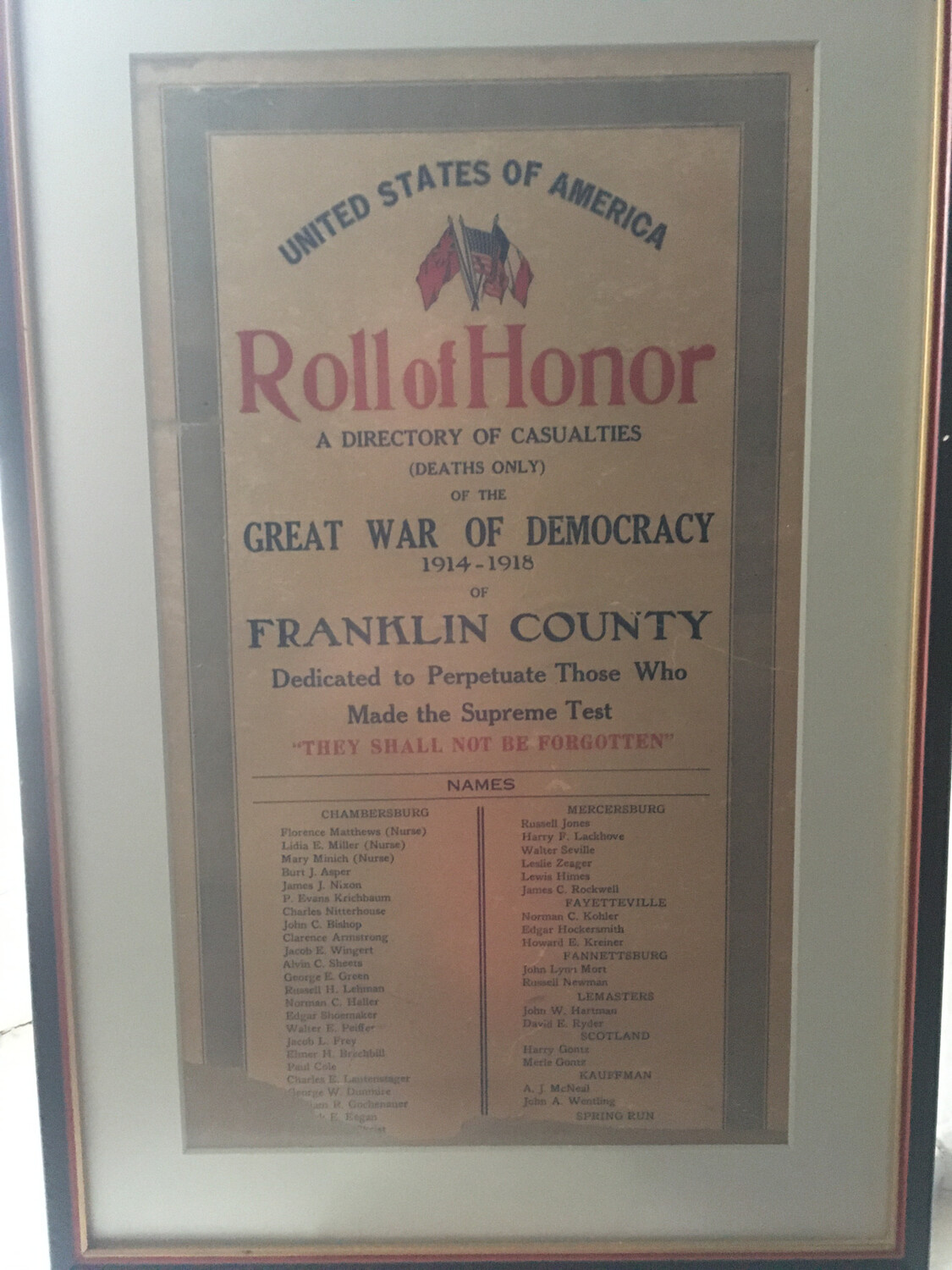 Franklin County Roll of Honor Framed