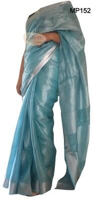 Blue shade tissue linen saree