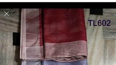 Red shade tissue linen saree