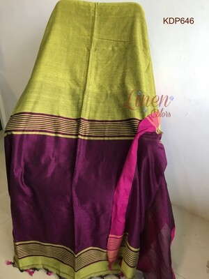 Yellow shade Khadi Saree